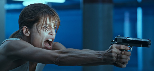 Linda Hamilton som Sarah Connor i Terminator 2 - Domedagen. Foto: TriStar Pictures.