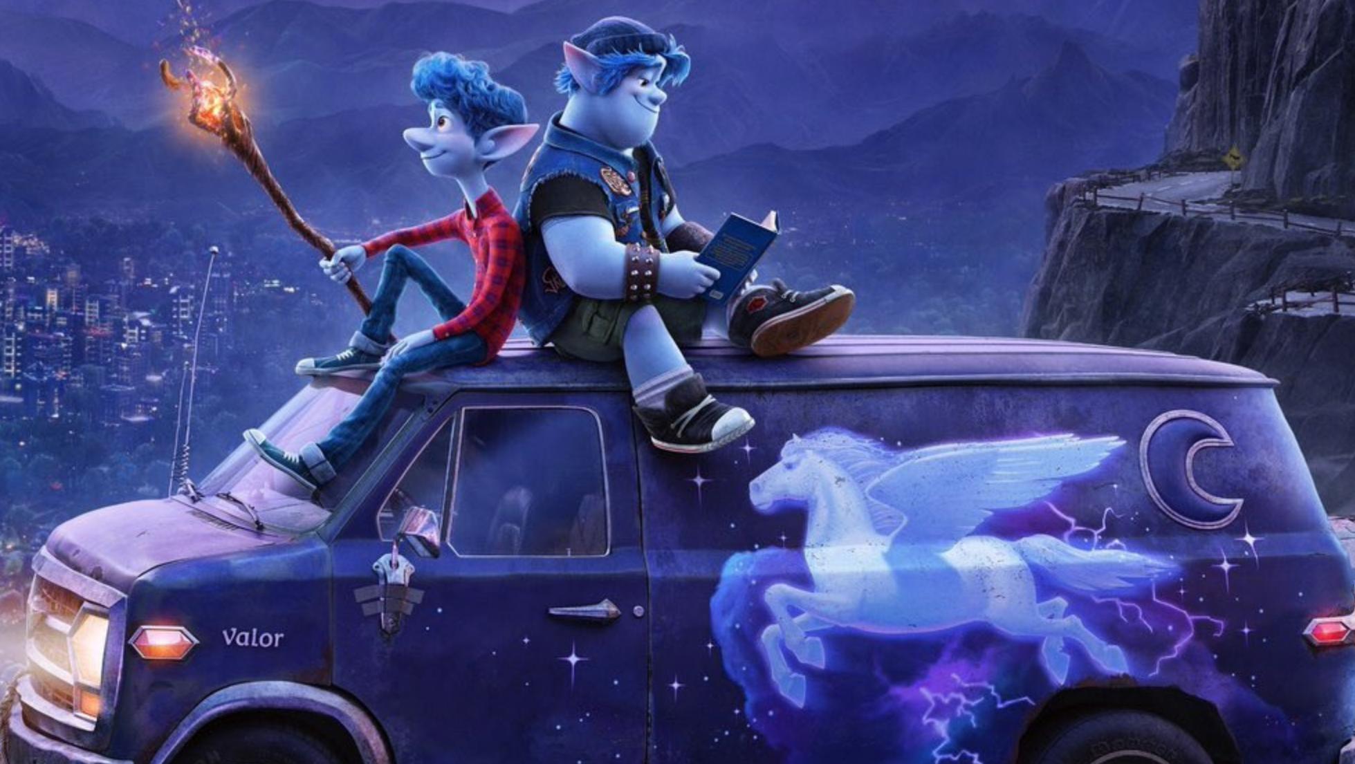 De två bröderna och deras trogna skåbil Guinevere i Framåt. Foto: Walt Disney Studios Motion Pictures.