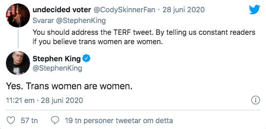 Stephen Kings kommentar på Twitter.
