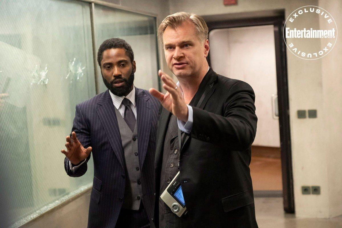 "Christopher Nolan på inspelningen av ""Tenet""."