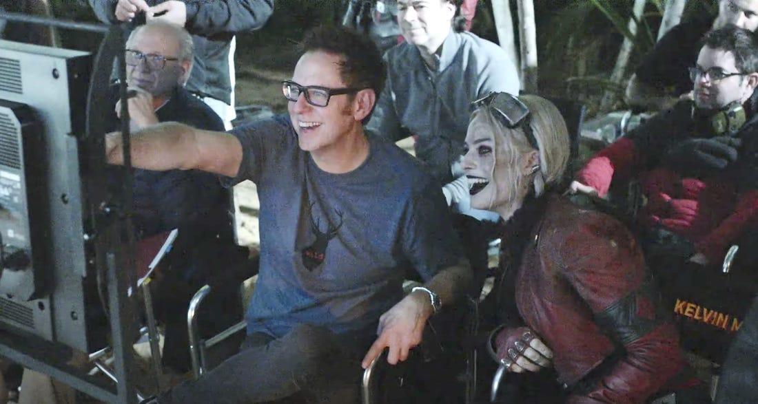 """James Gunn och Margot Robbie på inspelningen av """"The Suicide Squad""""."""