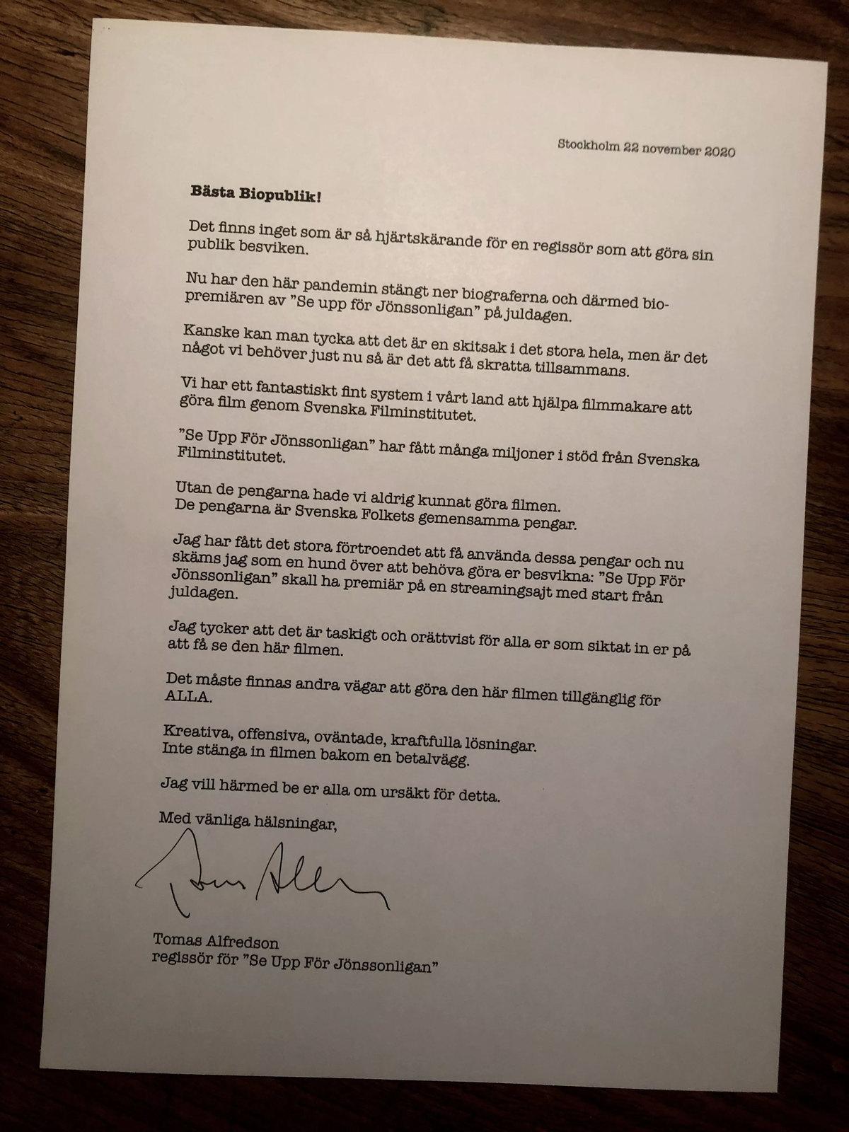 Thomas Alfredsons brev till svenska folket.