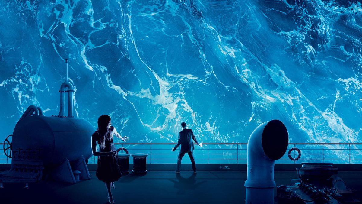 En våg väller över skeppet i Poseidon