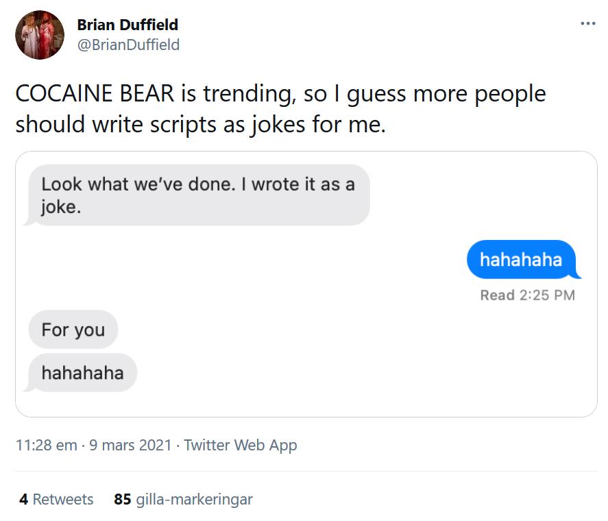 Cocaine Bear skrevs på skämt av Jimmy Warden?