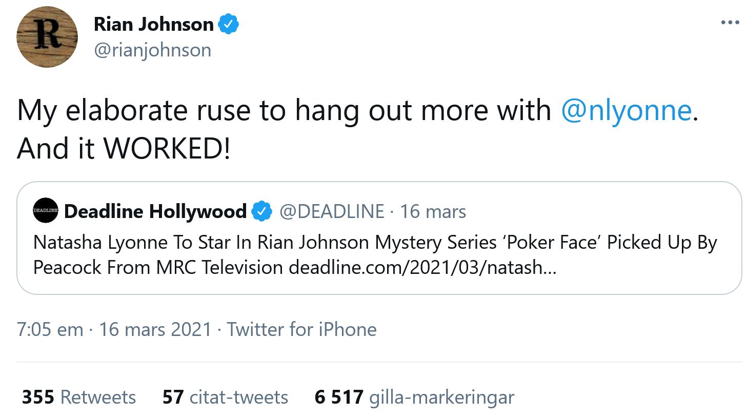 Från Rian Johnsons Twitter.