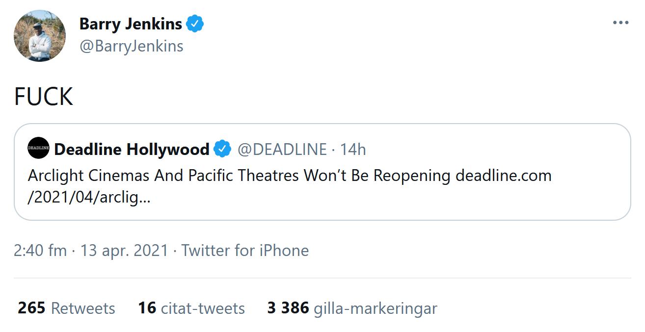 Barry Jenkins om att Cinerama Dome inte öppnar igen