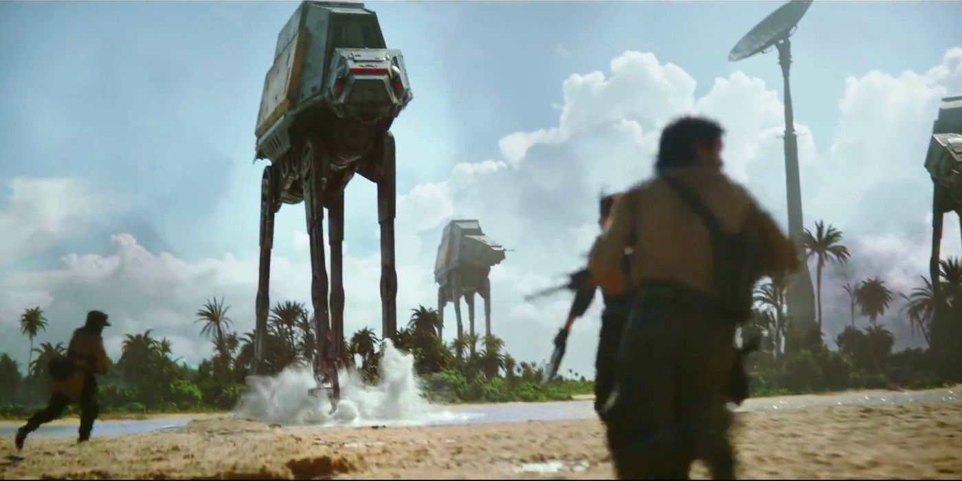 Rebellerna har gevär. Imperiet har ett antal AT-ACT. Hårda bud! Foto: Disney Studios Motion Pictures.