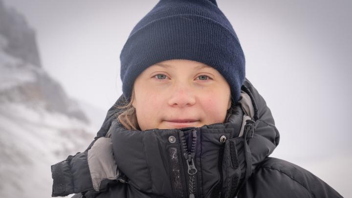 Greta Thunberg på Athabasca Glacier i Kanada.