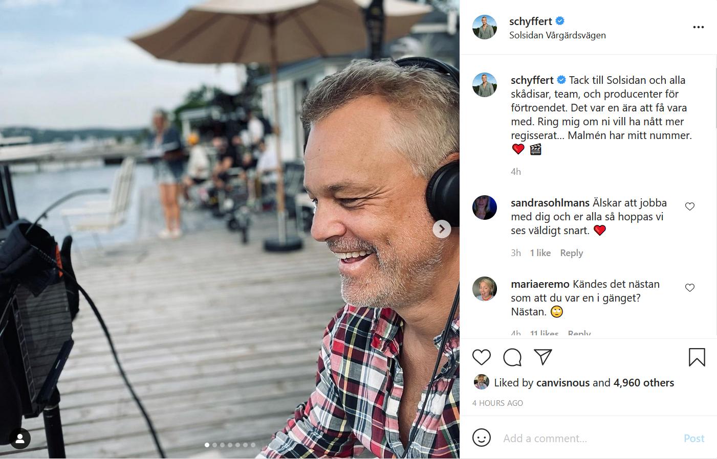 Från Henrik Schyfferts Instagram – Solsidan säsong 7 är färdiginspelad