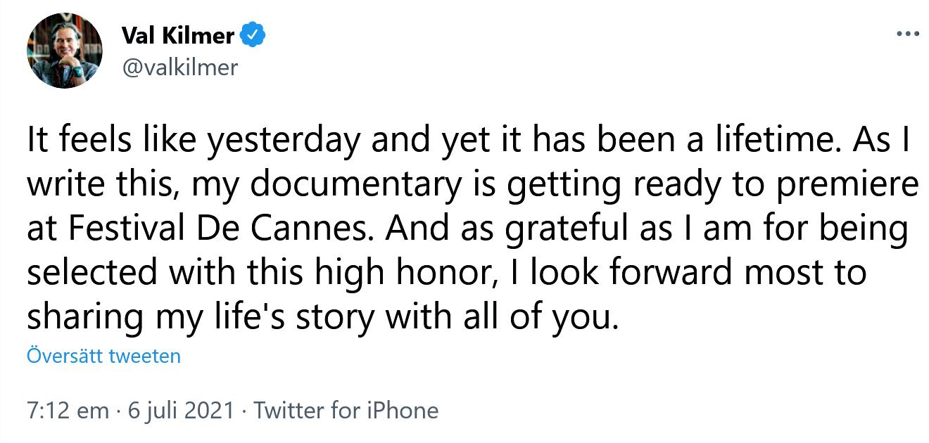 Val Kilmer på Twitter.